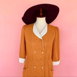 Vintage Dresses - Vintage 80s Mustard Cream Wiggle Midi Dress S M